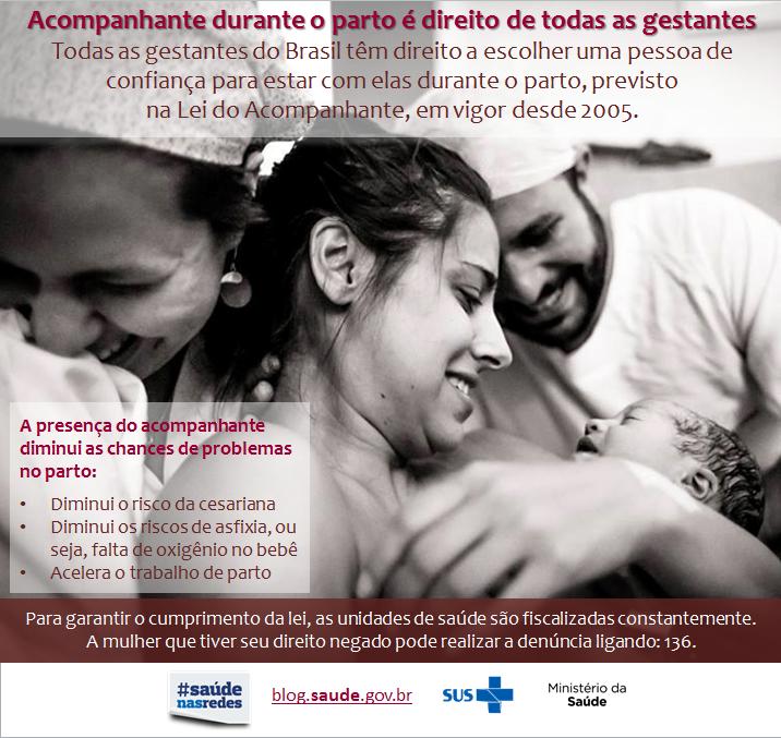 Informativo sobre acompanhantes no parto do Ministério da Saúde
