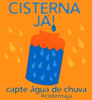 Logotipo do Movimento Cisterna Já. Fundo Laranja com desenho de tambor