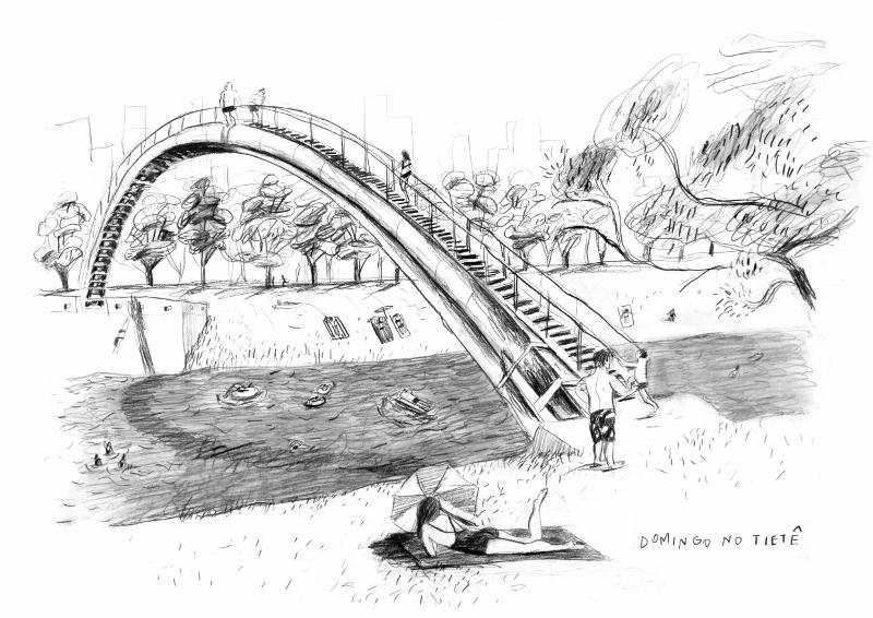 Ilustração de pessoas se divertindo nas margens Rio Tietê limpo e navegável