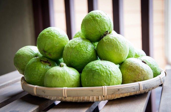 Nove goiabas verdes dentro de uma cesta de frutas que está sobre um mesa de madeira