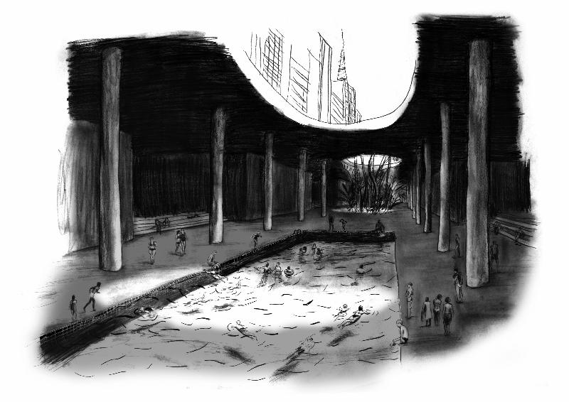 Ilustração fictícia do túnel José Roberto Fanganiello Melhem com uma piscina e pessoas se divertindo