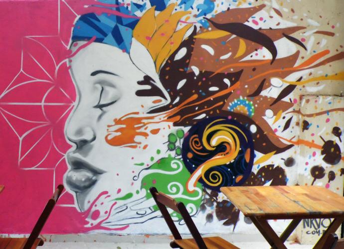 """Desenho da série """"As Negas"""", em Santa Tereza"""